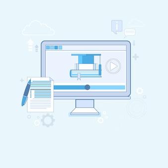 Illustrazione di vettore di tecnologia moderna di concetto dell'editor di video illustrazione