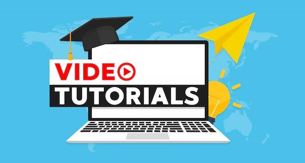 Illustrazione piana dell'insegna di concetto di video tutorial