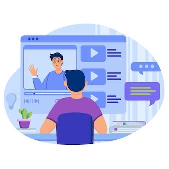 Illustrazione del concetto di tutorial video con personaggi in design piatto