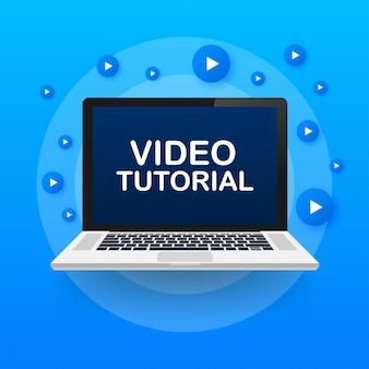 Tutorial video. studio e apprendimento del background, istruzione a distanza e crescita delle conoscenze. icona di videoconferenza e webinar. illustrazione di riserva.