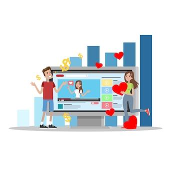 Illustrazione di feedback sul videoblog