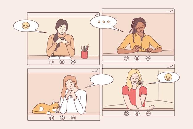 Videocall, conferenza online, concetto di comunicazione a distanza.