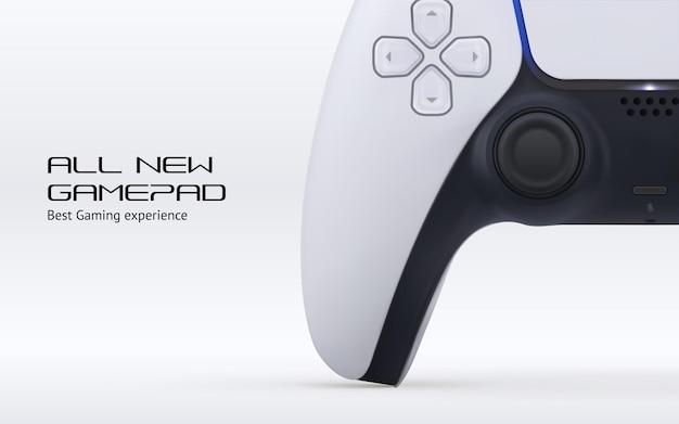 Concetto dell'insegna del telecomando del gioco del videogioco. gamepad realistico della stazione di gioco vettoriale con 5 pulsanti isolati su sfondo bianco