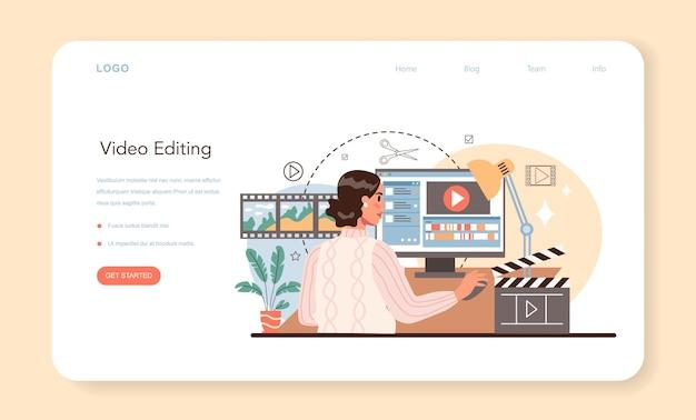 Banner web del videografo o produzione video della pagina di destinazione