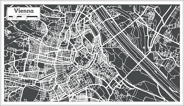 Mappa di vienna austria in stile retrò. illustrazione di vettore. mappa di contorno.