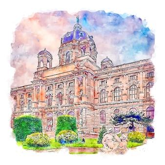Illustrazione disegnata a mano di schizzo ad acquerello di vienna austria