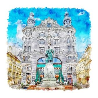 Illustrazione disegnata a mano di schizzo dell'acquerello di vienna austria
