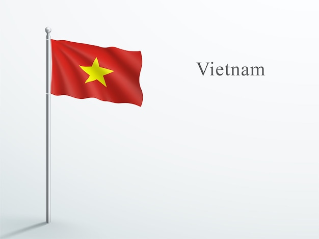 Bandiera del vietnam 3d che ondeggia sul pennone in acciaio