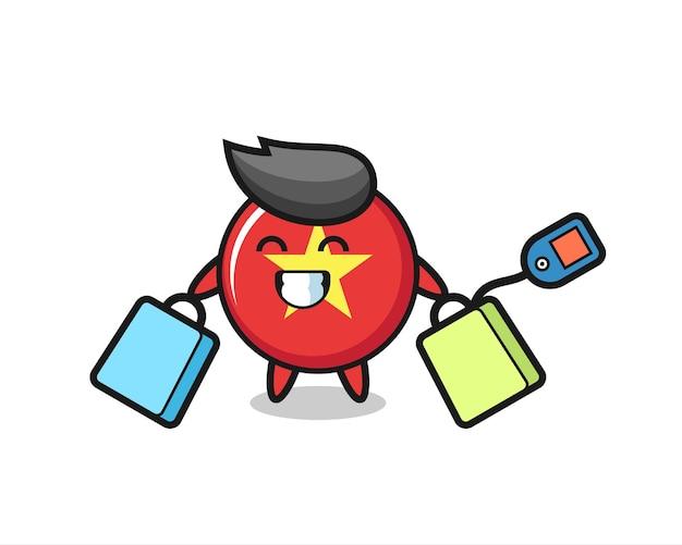 Cartone animato della mascotte del distintivo della bandiera del vietnam che tiene una borsa della spesa, design in stile carino per maglietta, adesivo, elemento logo