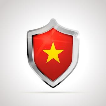 Bandiera del vietnam proiettata come uno scudo lucido