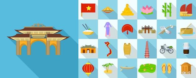 Set di icone del vietnam, stile piatto