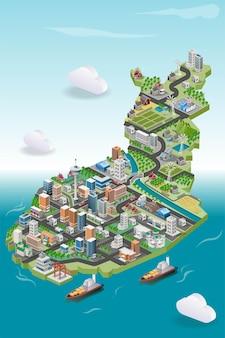 Vista di edifici e abitazioni con fattoria nella mappa dell'illustrazione isometrica