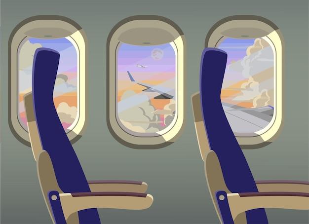 Vista delle nuvole dall'illustrazione del finestrino dell'aereo