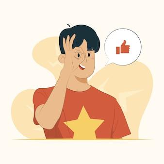 Visualizza l'occhio guardando attraverso le dita espressione gesto ok concetto