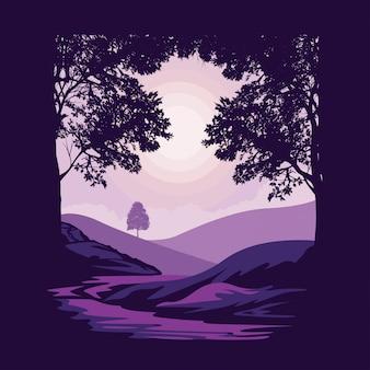 Vista delle colline colline dietro l'illustrazione degli alberi