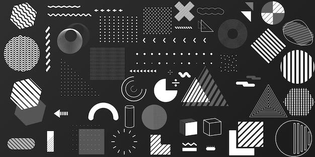 Vista di memphis raccolta di elementi di design geometrico, stili moderni e tipografia vettoriale. quantità e roba