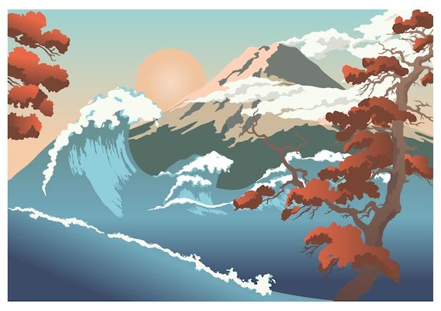 Vista della montagna con l'onda e l'albero. colore piatto del fumetto di vettore isolato su backgroud bianco. concetto per cartoline, poster, volantini in giappone