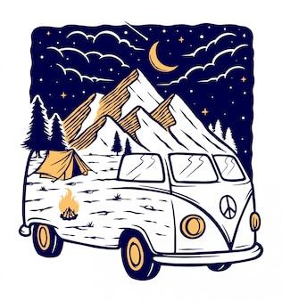 Vista sulle montagne e auto di notte illustrazione