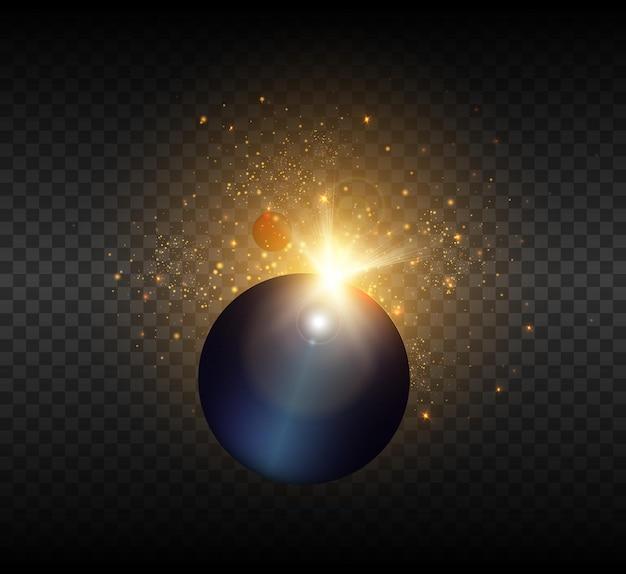 Vista del sole dallo spazio con raggi luminosi e luci.