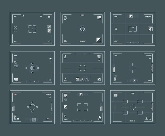 Interfaccia del mirino. fotocamere dslr di archiviazione digitale incornicia set di modelli web focalizzati sull'obiettivo.