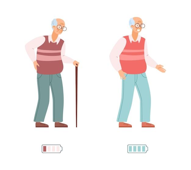 Illustrazione di vettore dell'uomo anziano esaurito vigoroso energico e stanco isolato.