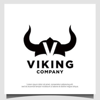 Logo del casco del guerriero antico vichingo