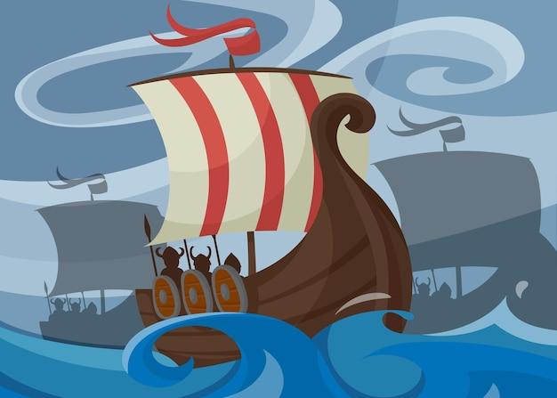 Banner vichingo con drakkar. cartello scandinavo in stile cartone animato.