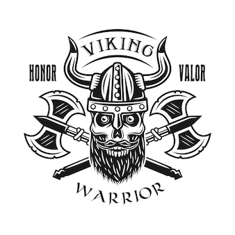 Emblema di vettore di teschio barbuto vichingo e asce, etichetta, distintivo, logo o stampa t-shirt in stile monocromatico isolato su sfondo bianco