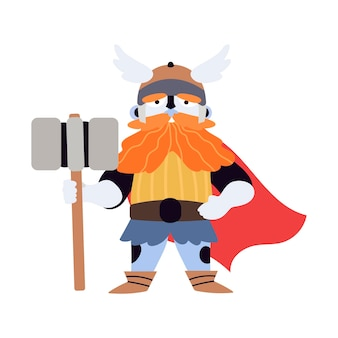 Personaggio vichingo con martello o thor dio del tuono