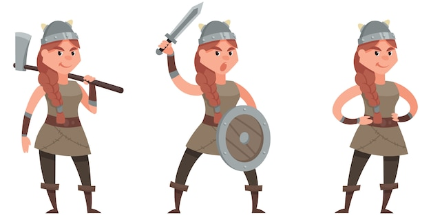 Vichingo in diverse pose. personaggio femminile in stile cartone animato.