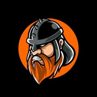 Logo della mascotte di viking e sport