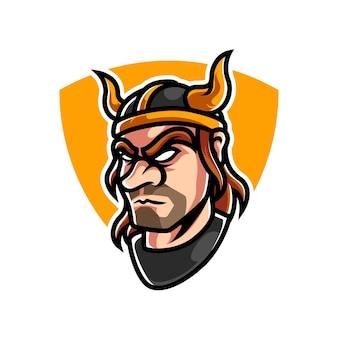 Logo mascotte viking e sport
