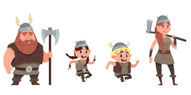 Famiglia vichinga che si diverte. personaggi in stile cartone animato.