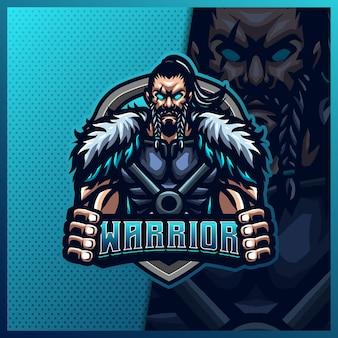 Modello di illustrazioni di progettazione del logo esport della mascotte del guerriero vichingo del gladiatore