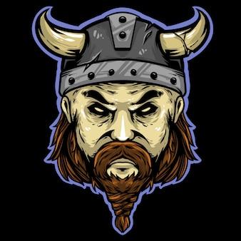 Mascotte logo testa di viking