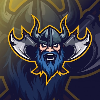 Logo esport di mascotte testa di viking