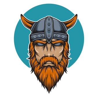 Illustrazione della mascotte della testa di viking