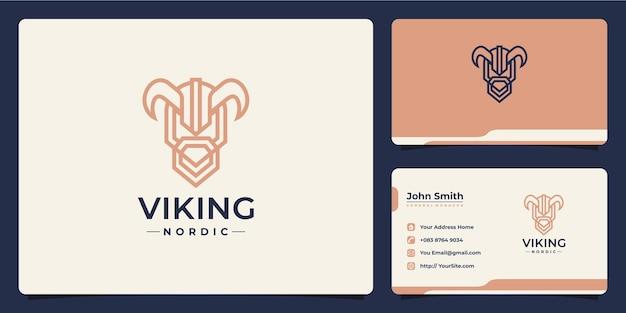 Design del logo e biglietto da visita monolinea testa vichinga