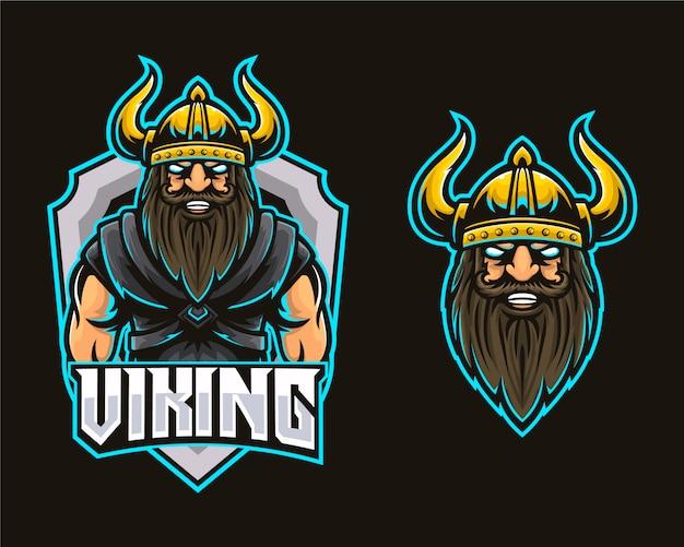 Logo di esports da gioco per muscoli della testa vichinga