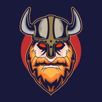 Viking testa illustrazione vettoriale design su sfondo scuro