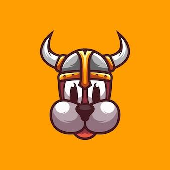 Illustrazione di progettazione del cane del casco vichingo
