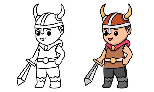 Pagina da colorare vichinga con spada in mano per bambini