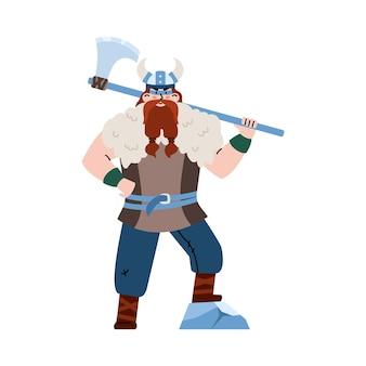 Viking in elmo cornuto che tiene l'illustrazione piana di vettore dell'ascia enorme isolata