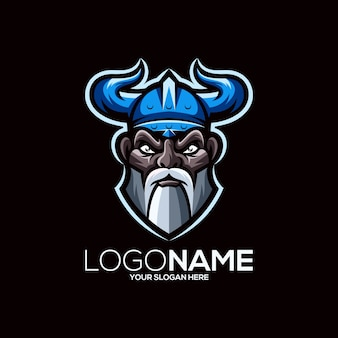 Viking logo design isolato sul nero