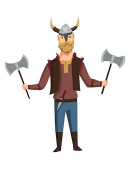 Uomo vichingo con elmo cornuto e due asce. uomini barbuti guerriero o eroe delle leggende scandinave. personaggio di storia barbara dei cartoni animati con arma.