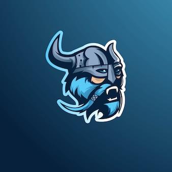 Vettore di progettazione di logo della mascotte di viking con stile moderno di concetto dell'illustrazione per stampa del distintivo, dell'emblema e della maglietta