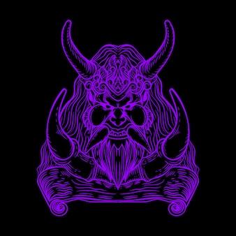 Illustrazione di colore neon vichingo