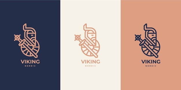 Viking nordic skandinavian logo monoline lussuoso