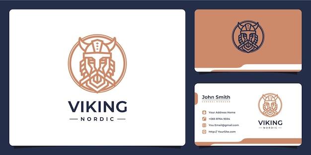 Design del logo monolinea guerriero nordico vichingo e biglietto da visita