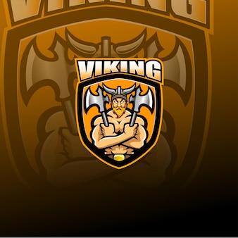 Logo della mascotte di viking norseman esport